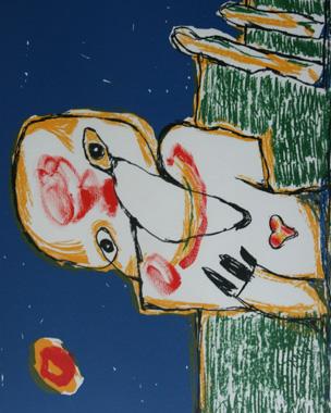 Kunstenaar:  Lucebert  Titel:Jij bent ik  Jaar: 1986  Techniek: Litho  Oplage: 200  Formaat: 45x60  Prijs: €675 met lijst