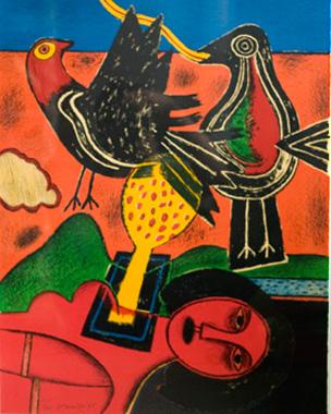Kunstenaar: Corneille  Titel:     Vrouw met Vogel  Jaar:     Jubileumjaar  Techniek:Litho  Oplage:  Formaat:  Prijs:€875 met lijst